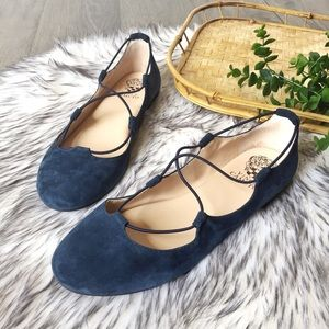 Vince Camuto Callini flats navy suede bungee sz 8M